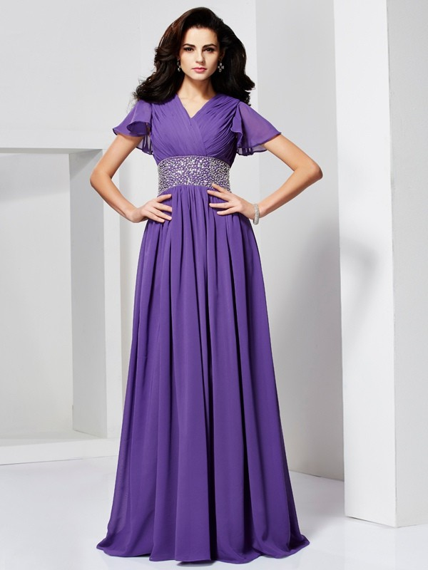 A-Line Chiffon V-neck Short Sleeves Floor-Length With Beading Dresses