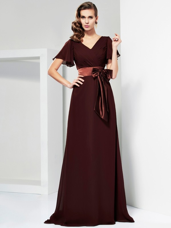 A-Line Chiffon V-neck Short Sleeves Sweep/Brush Train With Bowknot Mother of the Bride Dresses