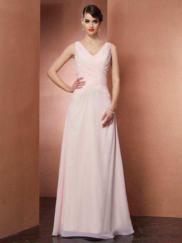 A-Line Chiffon V-neck Sleeveless Floor-Length With Pleats Dresses
