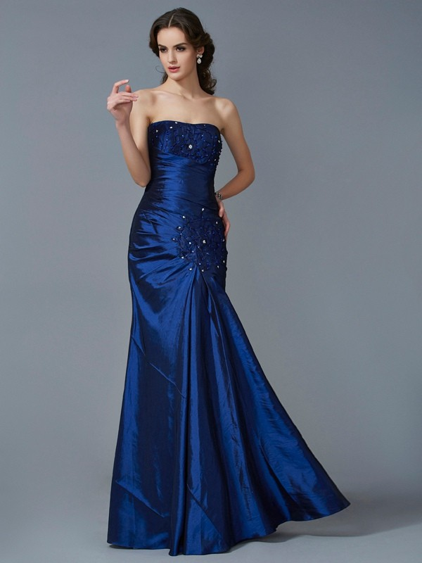 Mermaid Taffeta Strapless Sleeveless Floor-Length With Applique Dresses