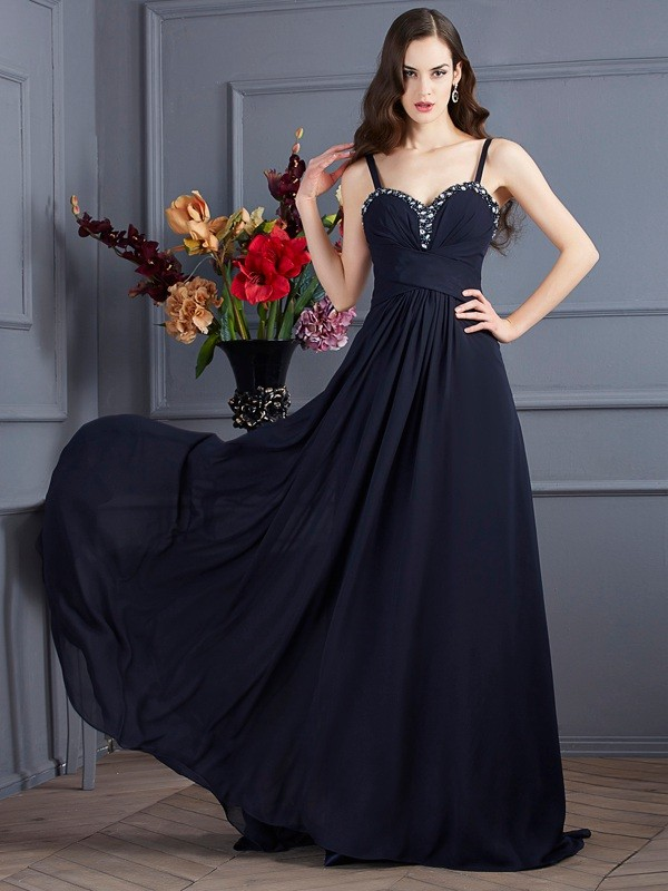 A-Line Chiffon Spaghetti Straps Sleeveless Sweep/Brush Train With Beading Dresses