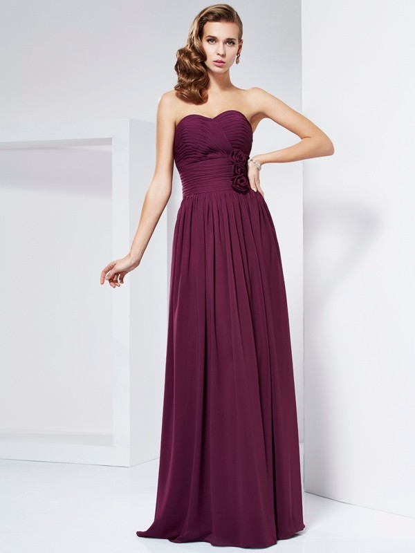 Sheath Chiffon Sweetheart Sleeveless Floor-Length With Hand-Made Flower Dresses