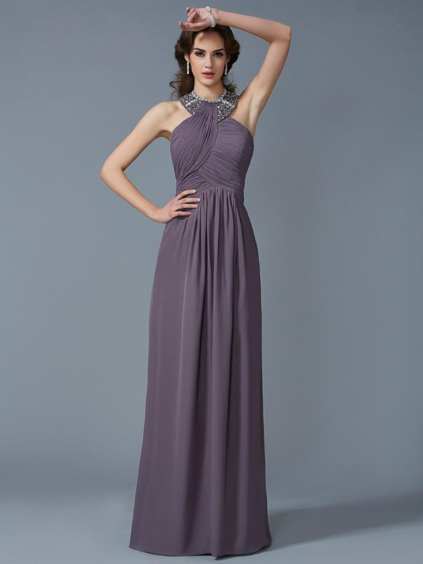 Sheath Chiffon High Neck Sleeveless Floor-Length With Beading Dresses