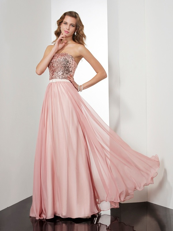 A-Line Chiffon Strapless Sleeveless Floor-Length With Paillette Dresses