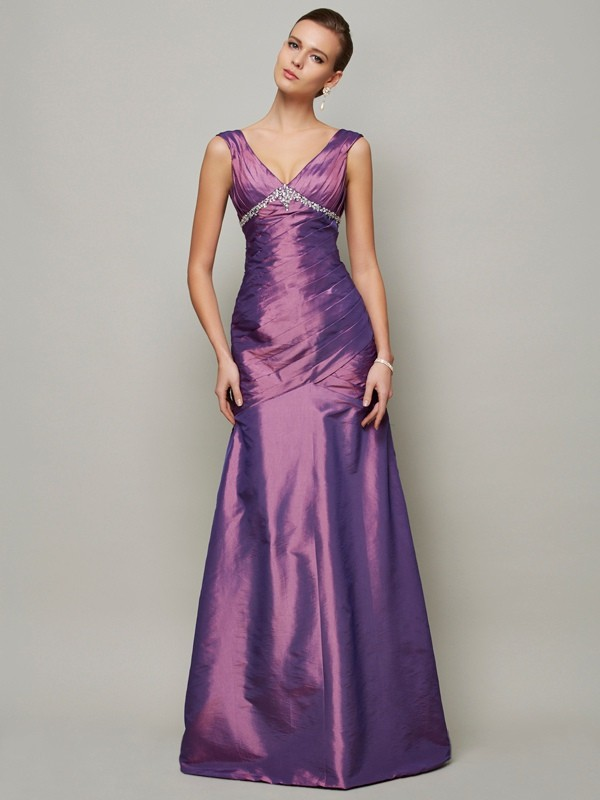 Sheath Taffeta V-neck Sleeveless Floor-Length With Beading Dresses