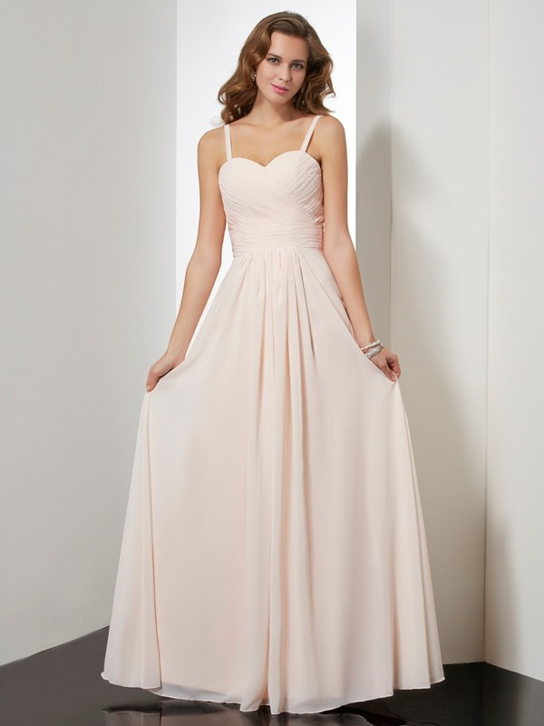 Sheath Chiffon Spaghetti Straps Sleeveless Floor-Length With Ruffles Dresses