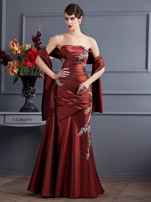 Sheath Taffeta Strapless Sleeveless Floor-Length With Beading Dresses
