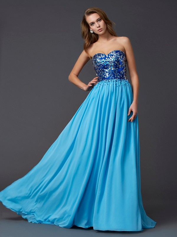 A-Line Chiffon Sweetheart Sleeveless Sweep/Brush Train With Paillette Dresses