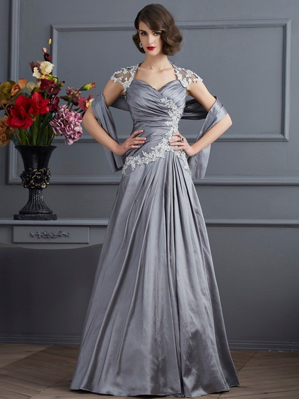 A-Line Taffeta Sweetheart Short Sleeves Floor-Length With Beading Dresses