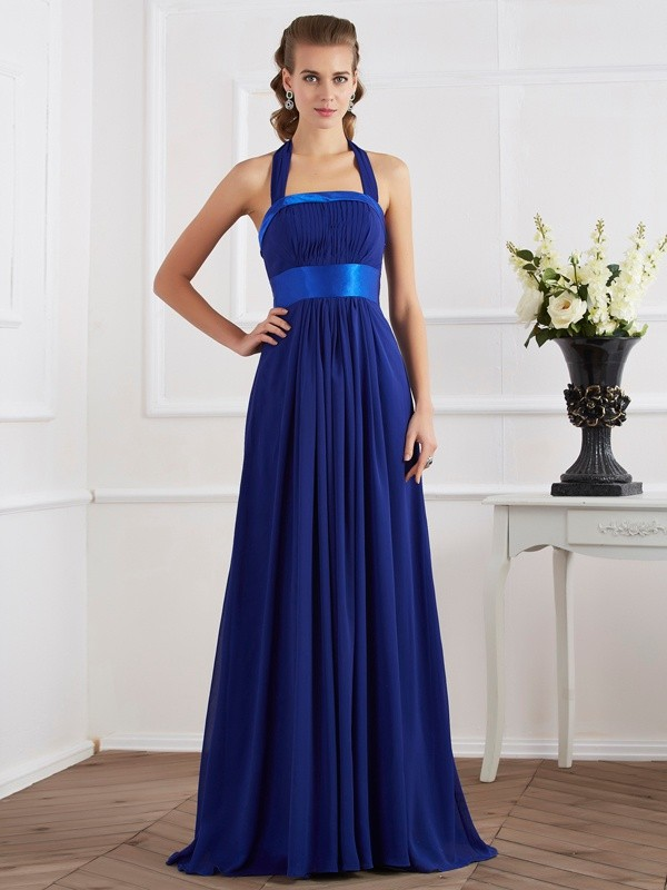 A-Line Chiffon Halter Sleeveless Floor-Length With Ruched Dresses