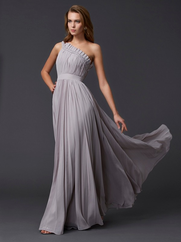 A-Line Chiffon One-Shoulder Sleeveless Floor-Length With Pleats Dresses