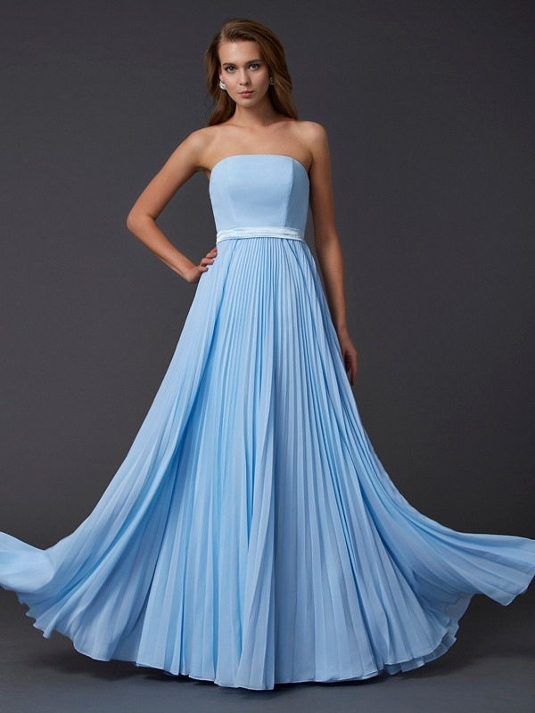 A-Line Chiffon Strapless Sleeveless Floor-Length With Ruched Dresses
