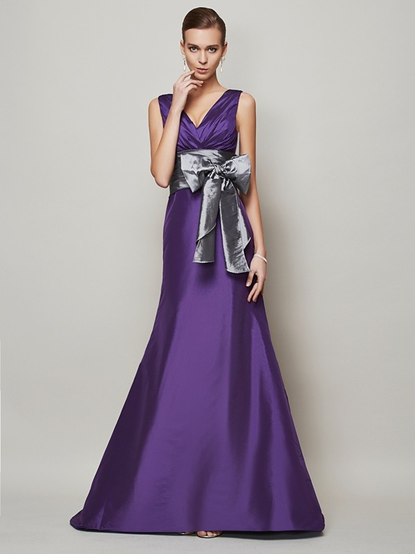 A-Line Taffeta V-neck Sleeveless Floor-Length With Sash/Ribbon/Belt Dresses