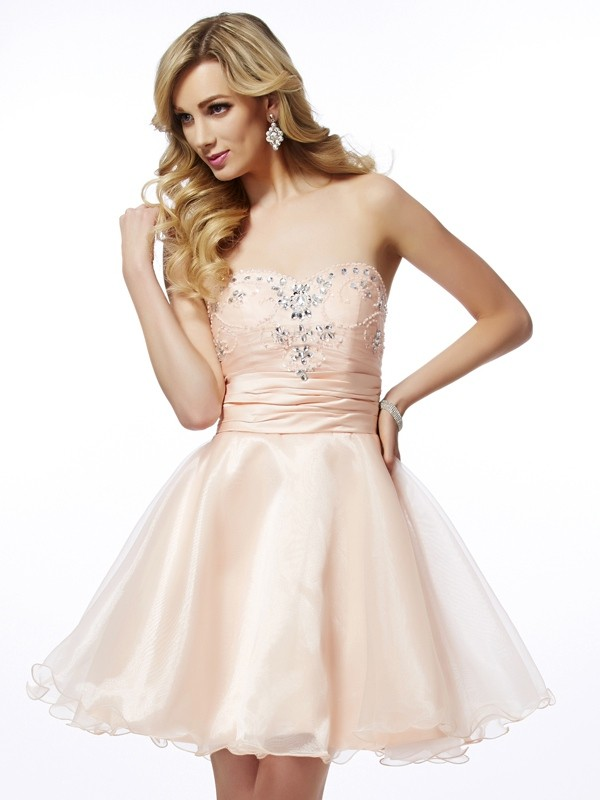 A-Line Tulle Sweetheart Sleeveless Short/Mini With Beading Homecoming Dresses