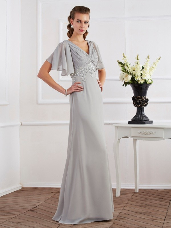 Sheath Chiffon V-neck Short Sleeves Floor-Length With Beading Dresses