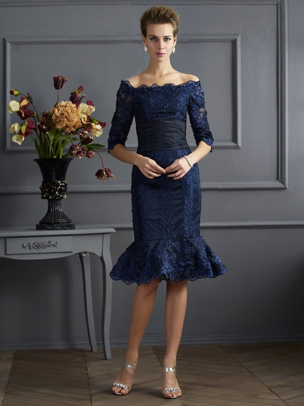 Sheath Taffeta Off-the-Shoulder 3/4 Sleeves Knee-Length With Lace Mother of the Bride Dresses