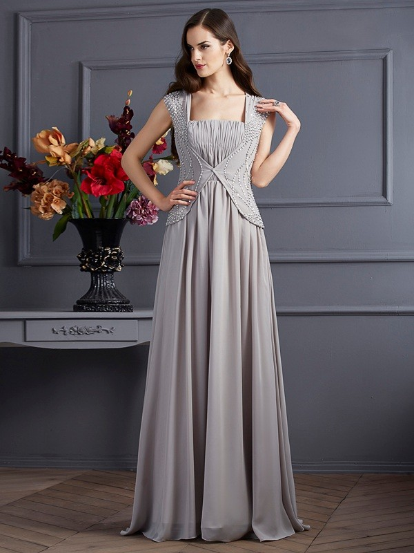 A-Line Chiffon Square Sleeveless Floor-Length With Beading Dresses