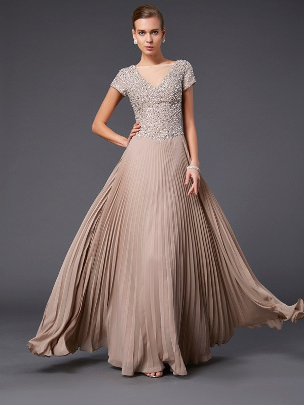 A-Line Chiffon V-neck Short Sleeves Floor-Length With Beading Mother of the Bride Dresses