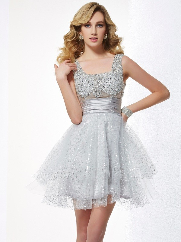 A-Line Elastic Woven Satin Straps Sleeveless Short/Mini With Beading Homecoming Dresses