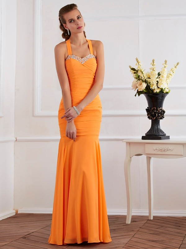 Mermaid Chiffon Halter Sleeveless Floor-Length With Beading Dresses