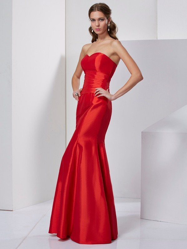 Mermaid Taffeta Sweetheart Sleeveless Floor-Length With Pleats Dresses