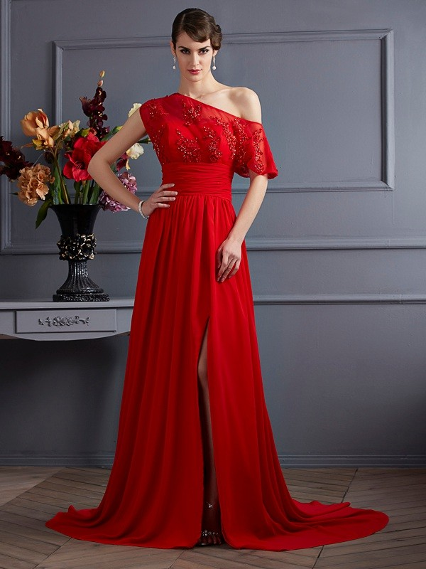 A-Line Chiffon One-Shoulder Sleeveless Court Train With Applique Dresses