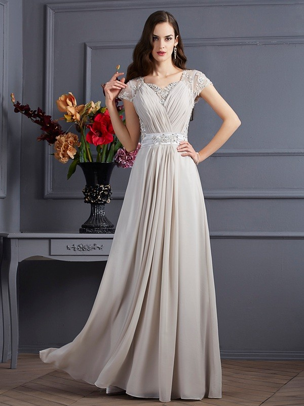 A-Line Chiffon Sweetheart Short Sleeves Floor-Length With Beading Dresses