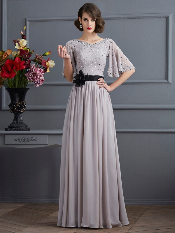 A-Line Chiffon High Neck 1/2 Sleeves Floor-Length With Beading Dresses