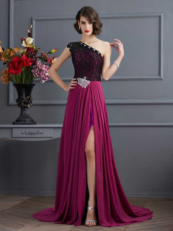 A-Line Chiffon One-Shoulder Sleeveless Sweep/Brush Train With Lace Dresses