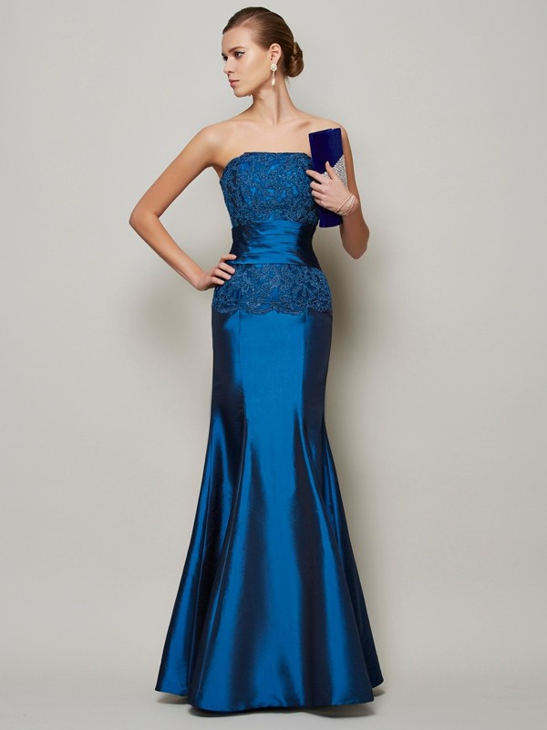 Mermaid Taffeta Strapless Sleeveless Floor-Length With Beading Dresses