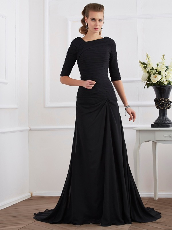 A-Line Chiffon Scoop 1/2 Sleeves Sweep/Brush Train With Pleats Dresses