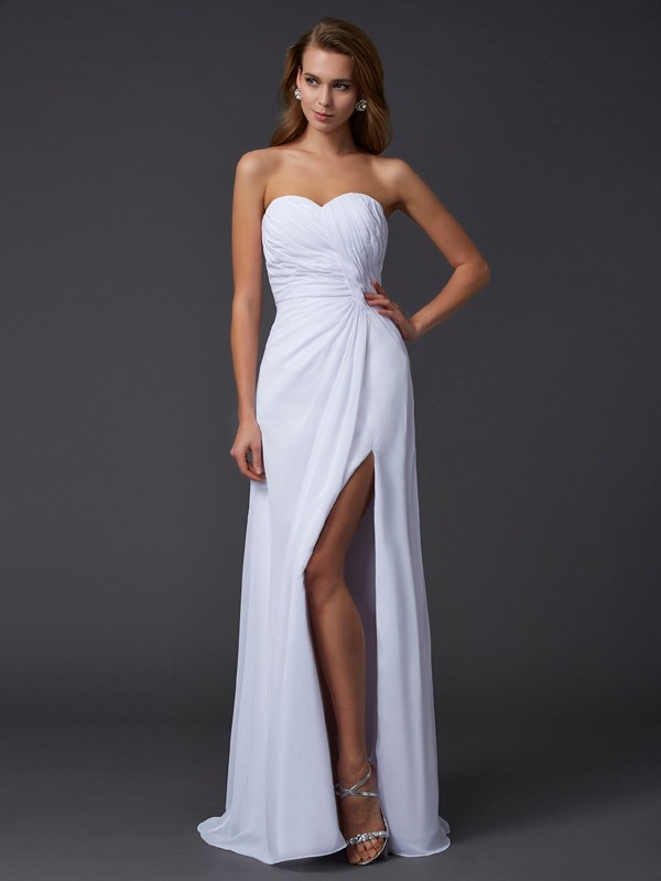 Sheath Chiffon Sweetheart Sleeveless Floor-Length With Pleats Dresses