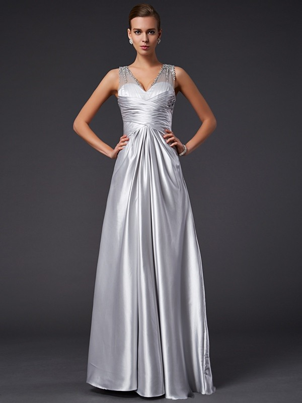 A-Line Elastic Woven Satin V-neck Sleeveless Floor-Length With Beading Dresses
