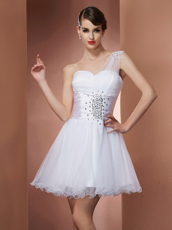 A-Line Net One-Shoulder Sleeveless Short/Mini With Beading Homecoming Dresses