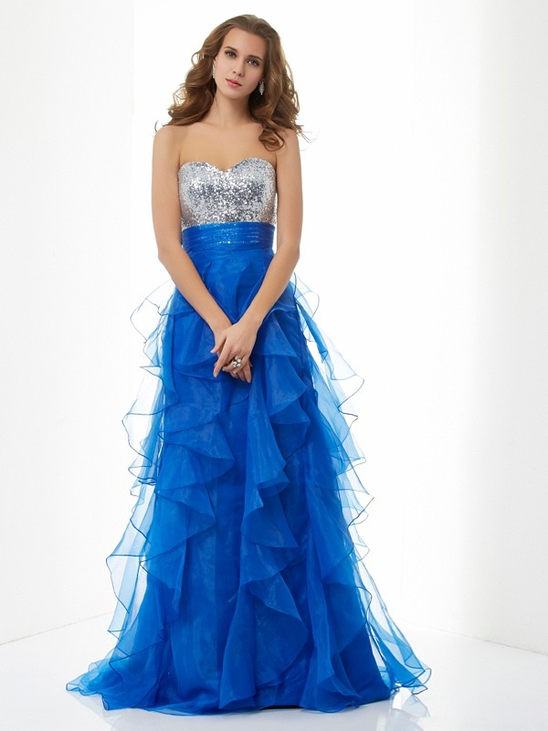A-Line Satin Sweetheart Sleeveless Floor-Length With Paillette Dresses