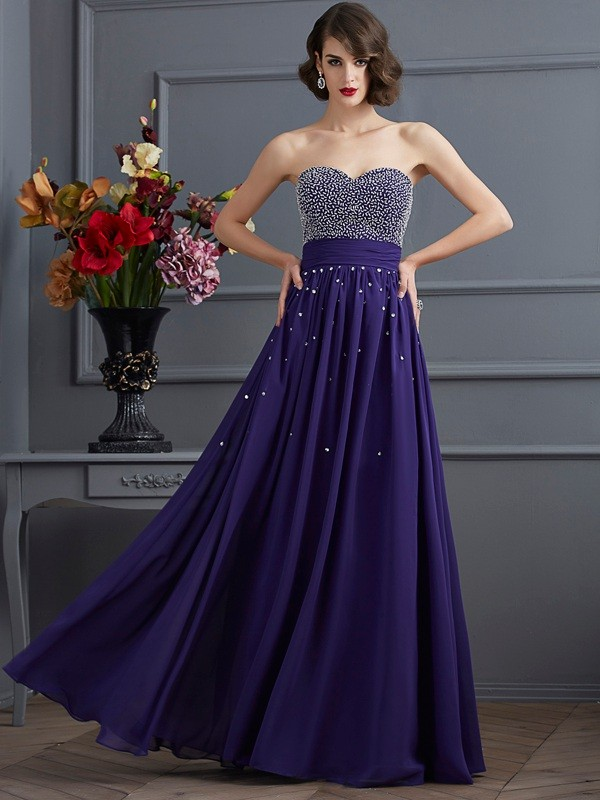 A-Line Chiffon Sweetheart Sleeveless Floor-Length With Beading Dresses