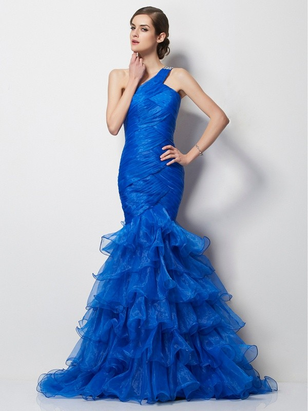 Mermaid Tulle One-Shoulder Sleeveless Sweep/Brush Train With Pleats Dresses