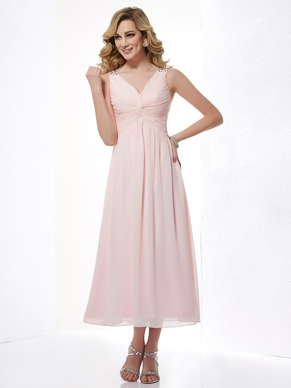 A-Line Chiffon V-neck Sleeveless Tea-Length With Beading Dresses