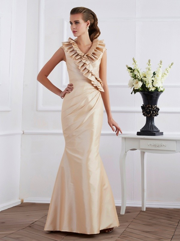 Sheath Taffeta V-neck Short Sleeves Floor-Length With Ruffles Mother of the Bride Dresses