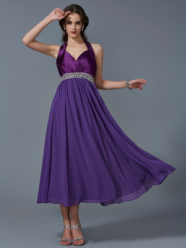 A-Line Chiffon Halter Sleeveless Ankle-Length With Beading Bridesmaid Dresses