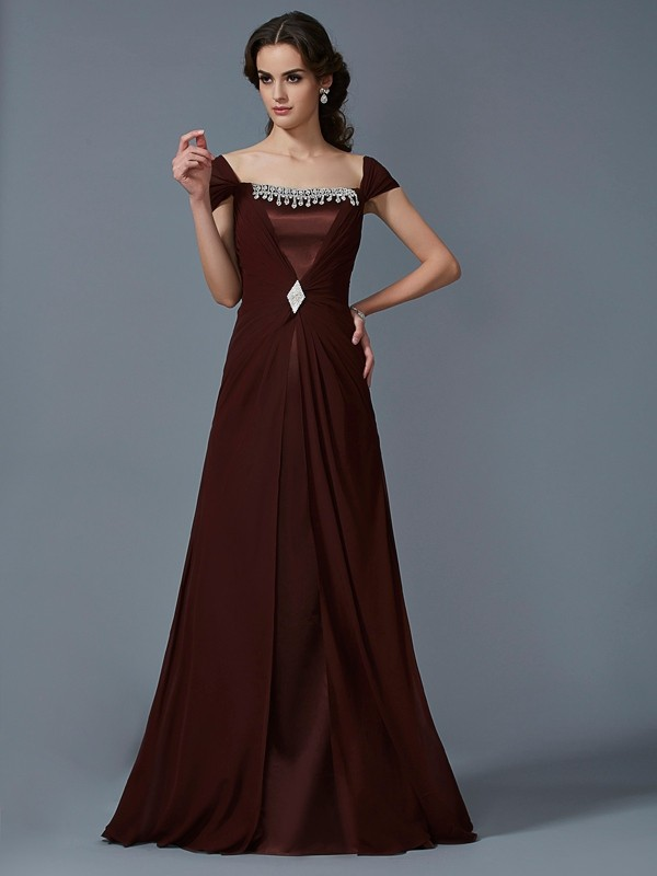 A-Line Chiffon Strapless Short Sleeves Floor-Length With Beading Dresses