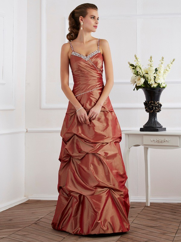 Sheath Taffeta Spaghetti Straps Sleeveless Floor-Length With Beading Dresses