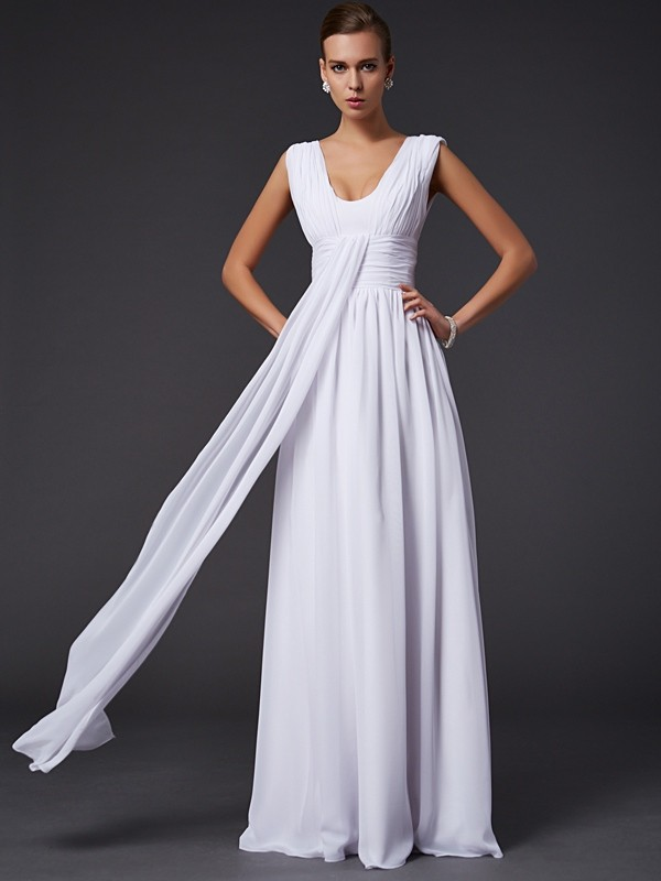 A-Line Chiffon Jewel Sleeveless Floor-Length With Pleats Dresses