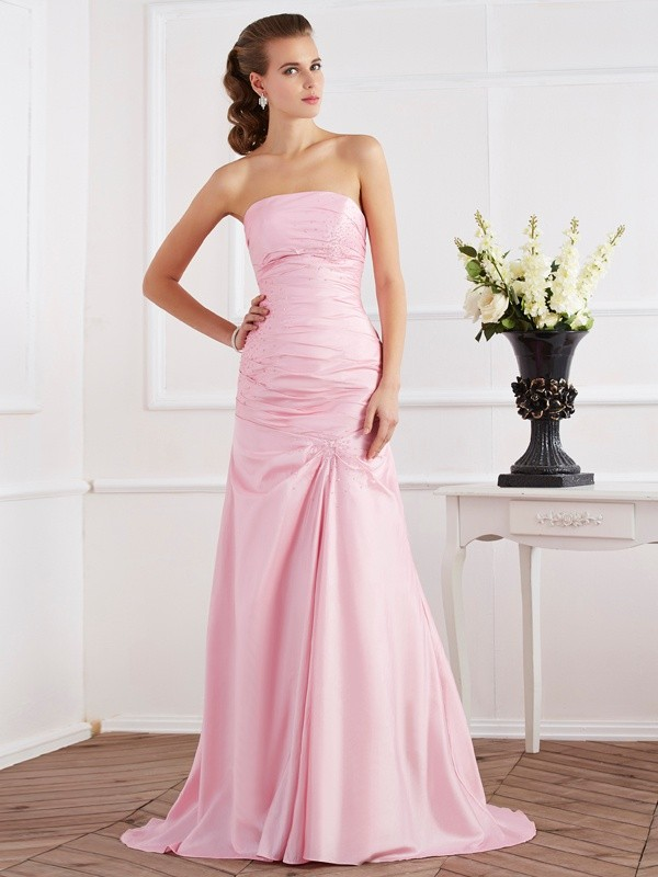 Mermaid Taffeta Strapless Sleeveless Sweep/Brush Train With Beading Dresses