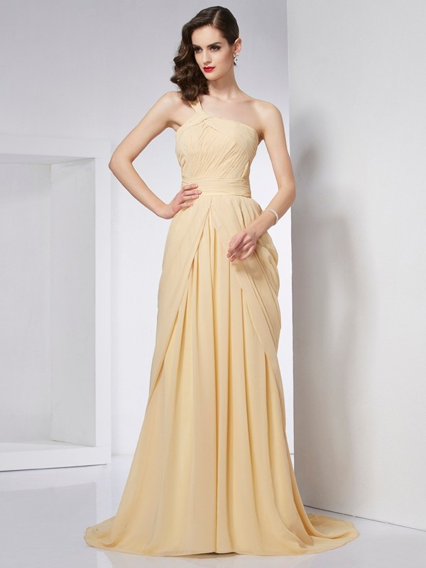 A-Line Chiffon One-Shoulder Sleeveless Chapel Train With Pleats Dresses