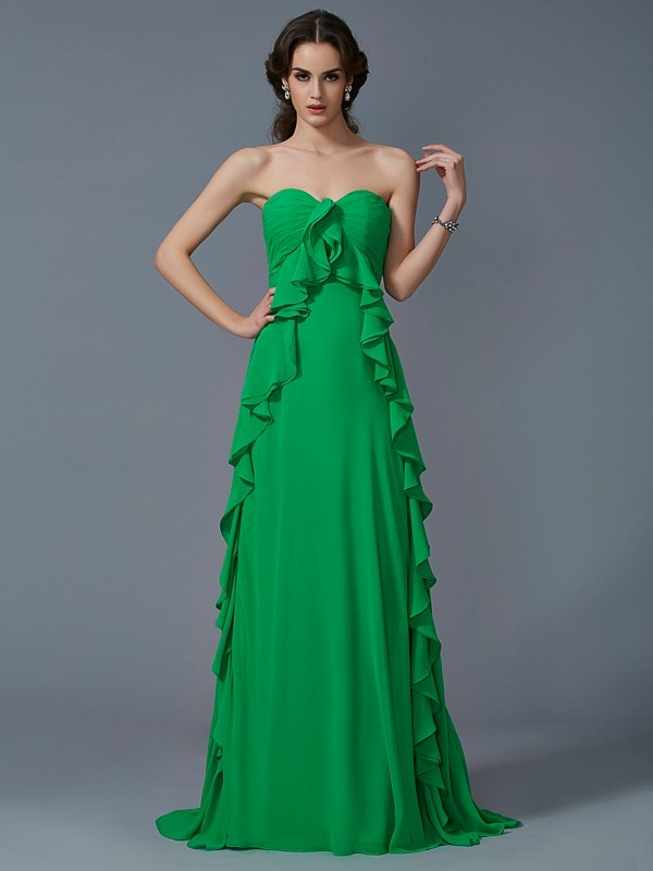 A-Line Chiffon Sweetheart Sleeveless Sweep/Brush Train With Ruffles Dresses