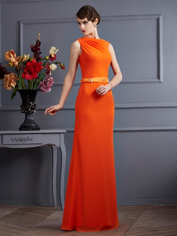 Sheath Chiffon High Neck Sleeveless Floor-Length With Sash/Ribbon/Belt Dresses