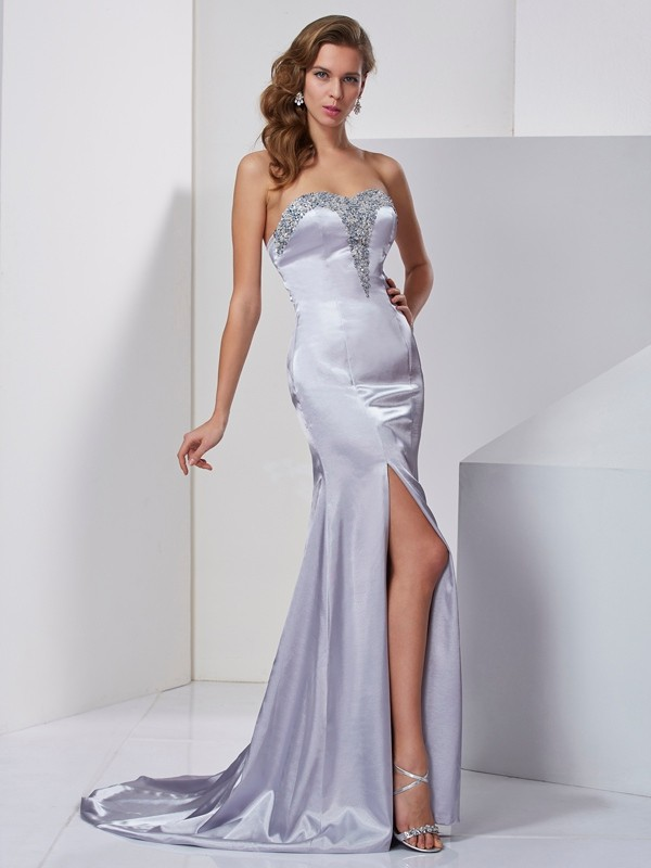 A-Line Elastic Woven Satin Sweetheart Sleeveless Sweep/Brush Train With Beading Dresses
