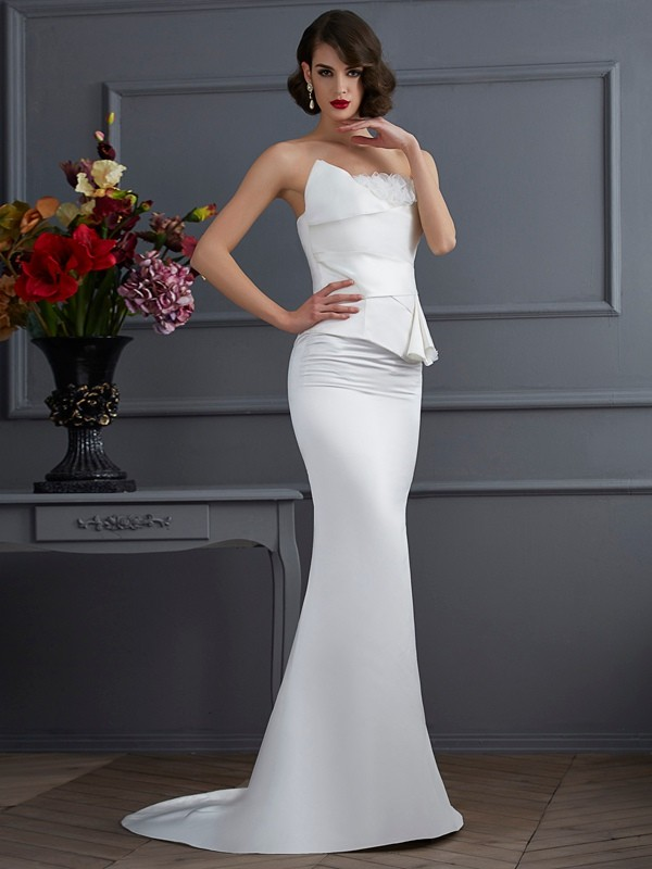 Mermaid Satin Strapless Sleeveless Sweep/Brush Train With Hand-Made Flower Dresses