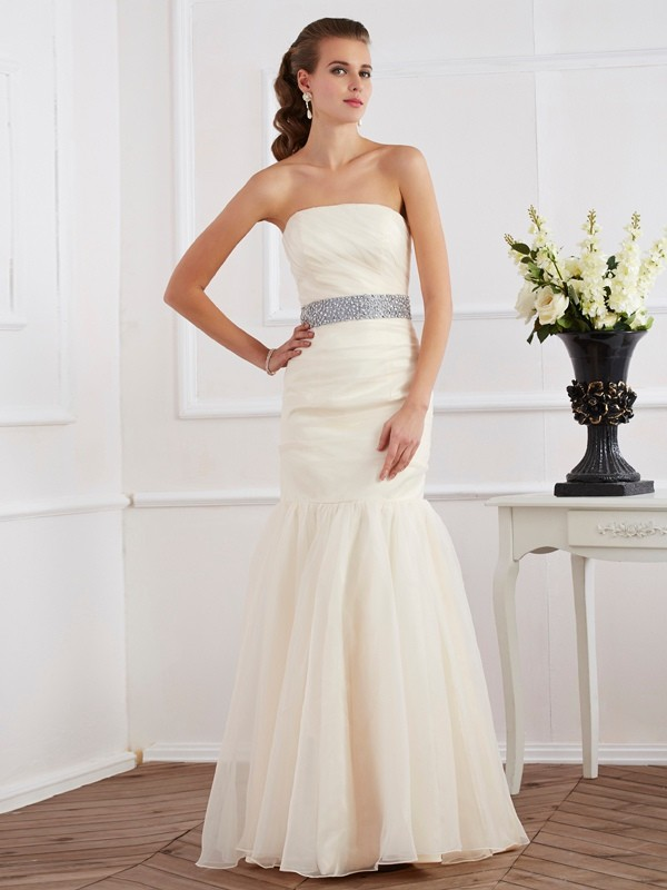 Mermaid Organza Strapless Sleeveless Floor-Length With Sash/Ribbon/Belt Dresses